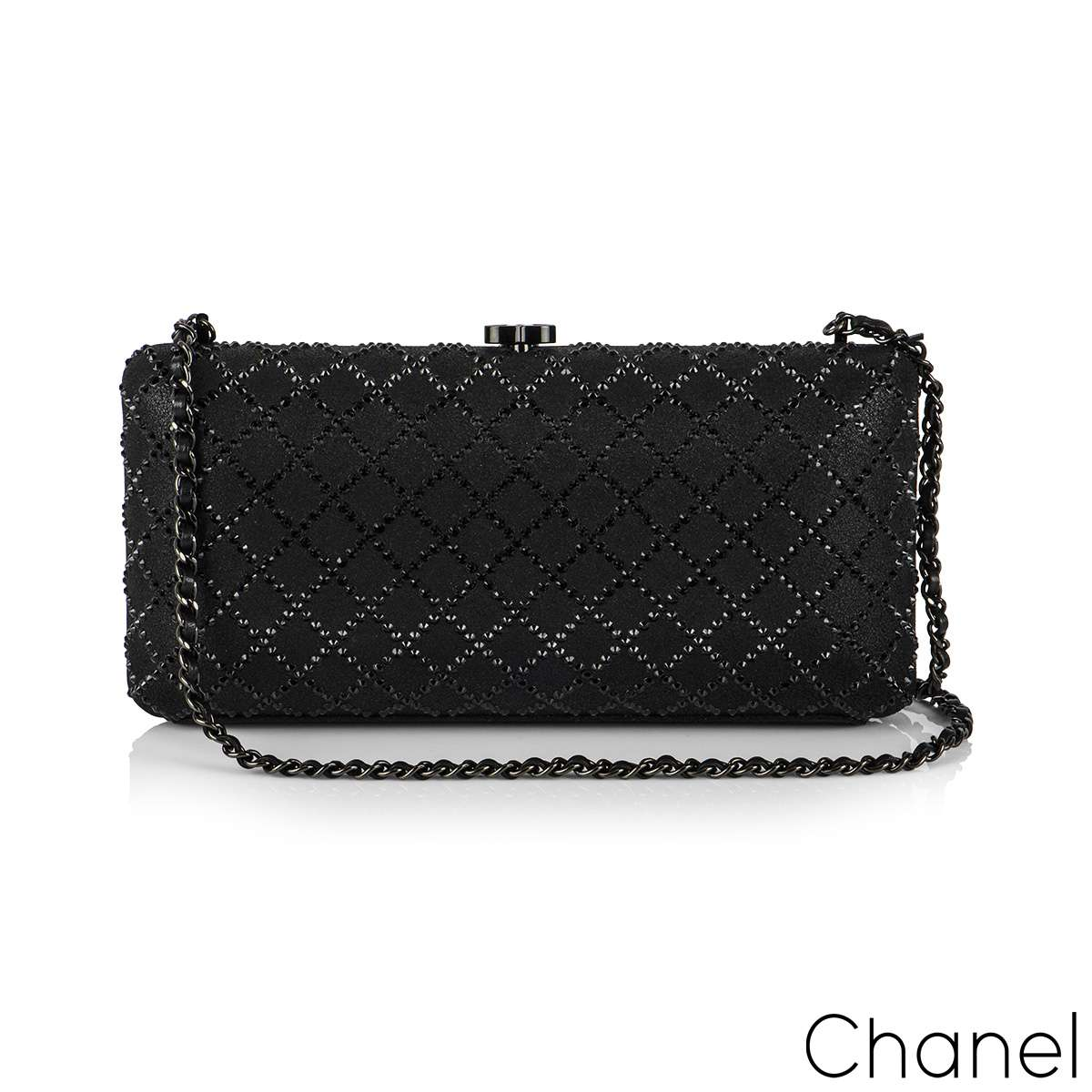 Chanel Black Iridescent Lambskin Crystal Quilted Clutch